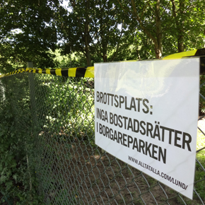 Aktion mot Lunds kommuns byggplaner i Borgareparken