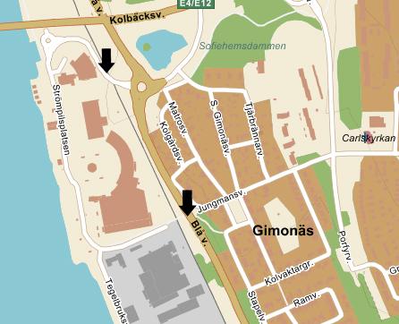 Bilden visar med nedre pil var konflikten om passagen skedde. Den övre pilen visar var Umeå Kommun tyckte att boende skulle passera istället.